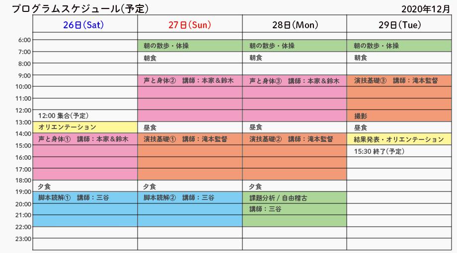 映画俳優スタートアップ合宿2020冬:プログラムスケジュール