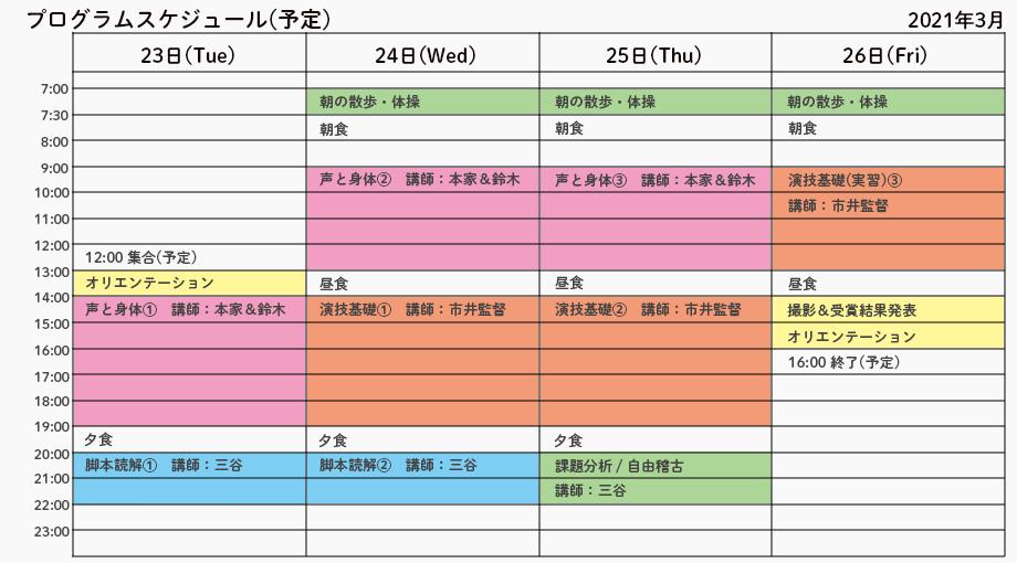 映画俳優スタートアップONLINE合宿2021春プログラムスケジュール